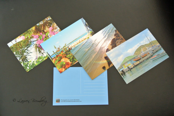 Set of Four Tropical Postcards